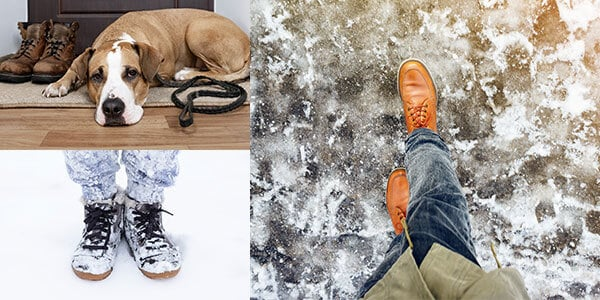 Shoes and pets bring snow and ice onto floors indoors.